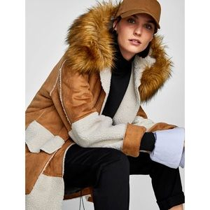 Faux suede coat with contrasting faux shearling